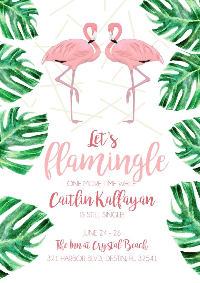 """Bachelorette Party """"Flamingle"""" invites by The Lovely Bee // www.thehiveblog.com"""