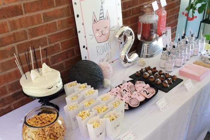 Kitty themed second birthday party