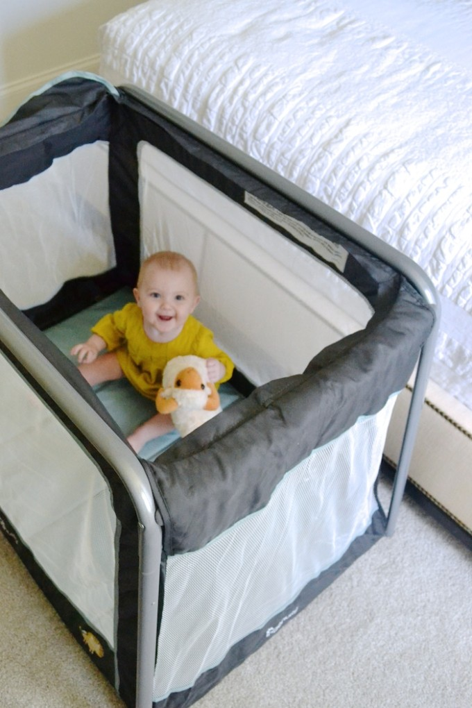 This TravelSimple Play Yard is a traveling-with-babies MUST! More on www.thehiveblog.com!