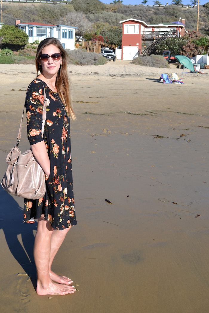Easy Black Floral dress for fall