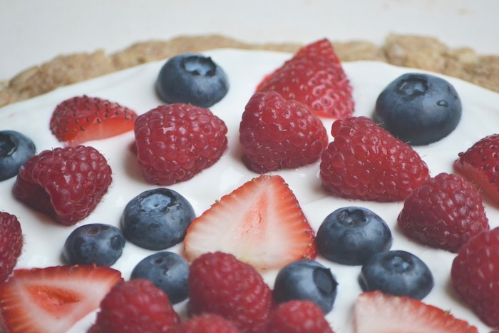 A Healthier Version of Fruit Pizza (With An UNBEATABLE Crust!) via thehiveblog.com