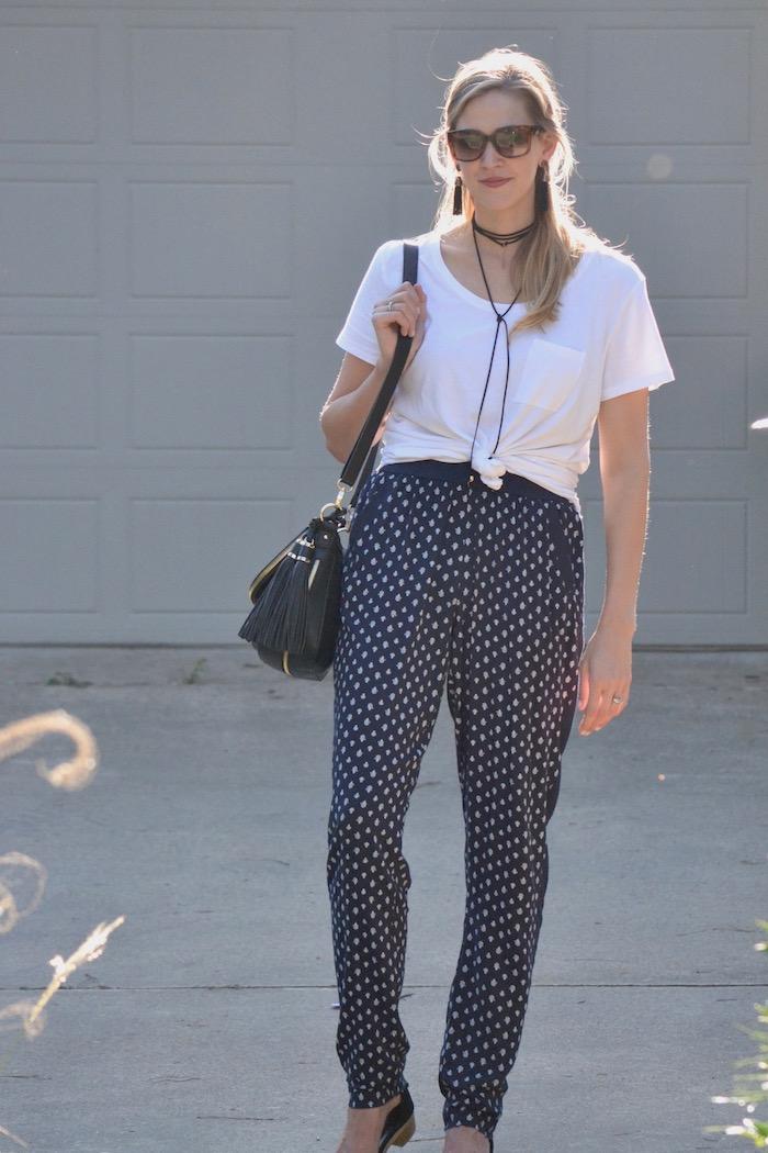 Summer pants and knotted tee via thehiveblog.com