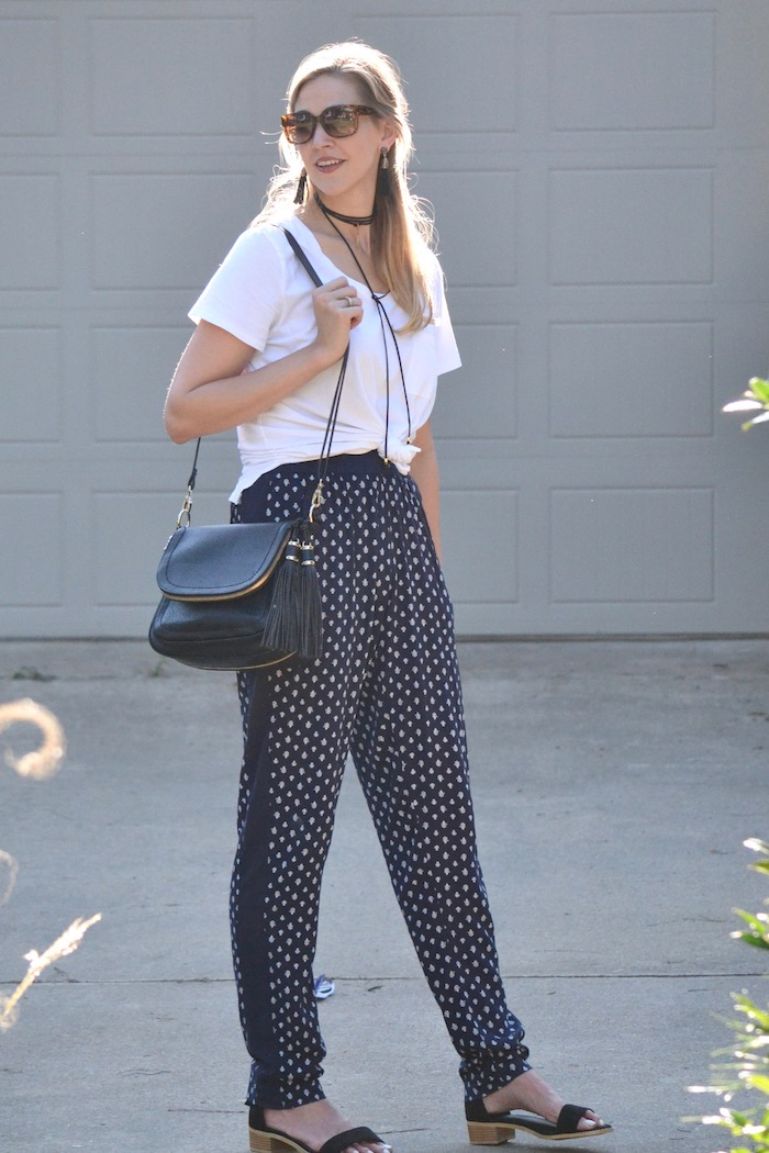 Summer pants and knotted tee via thehiveblog.com