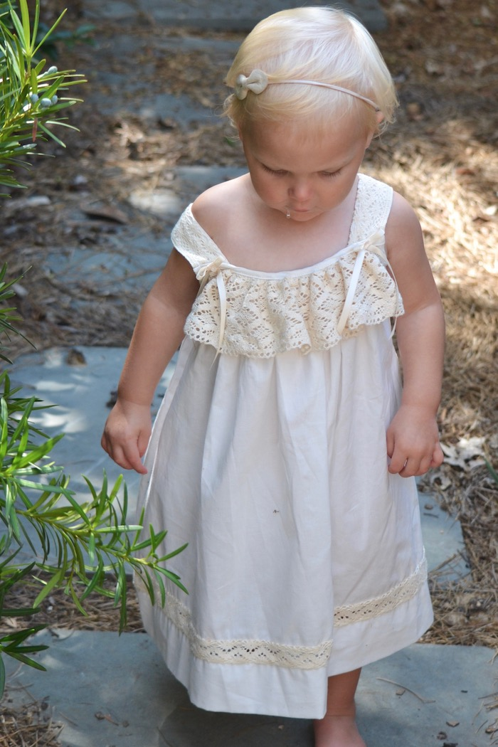 White and Ivory Morning Gown by Strasburg Children as seen on www.thehiveblog.com
