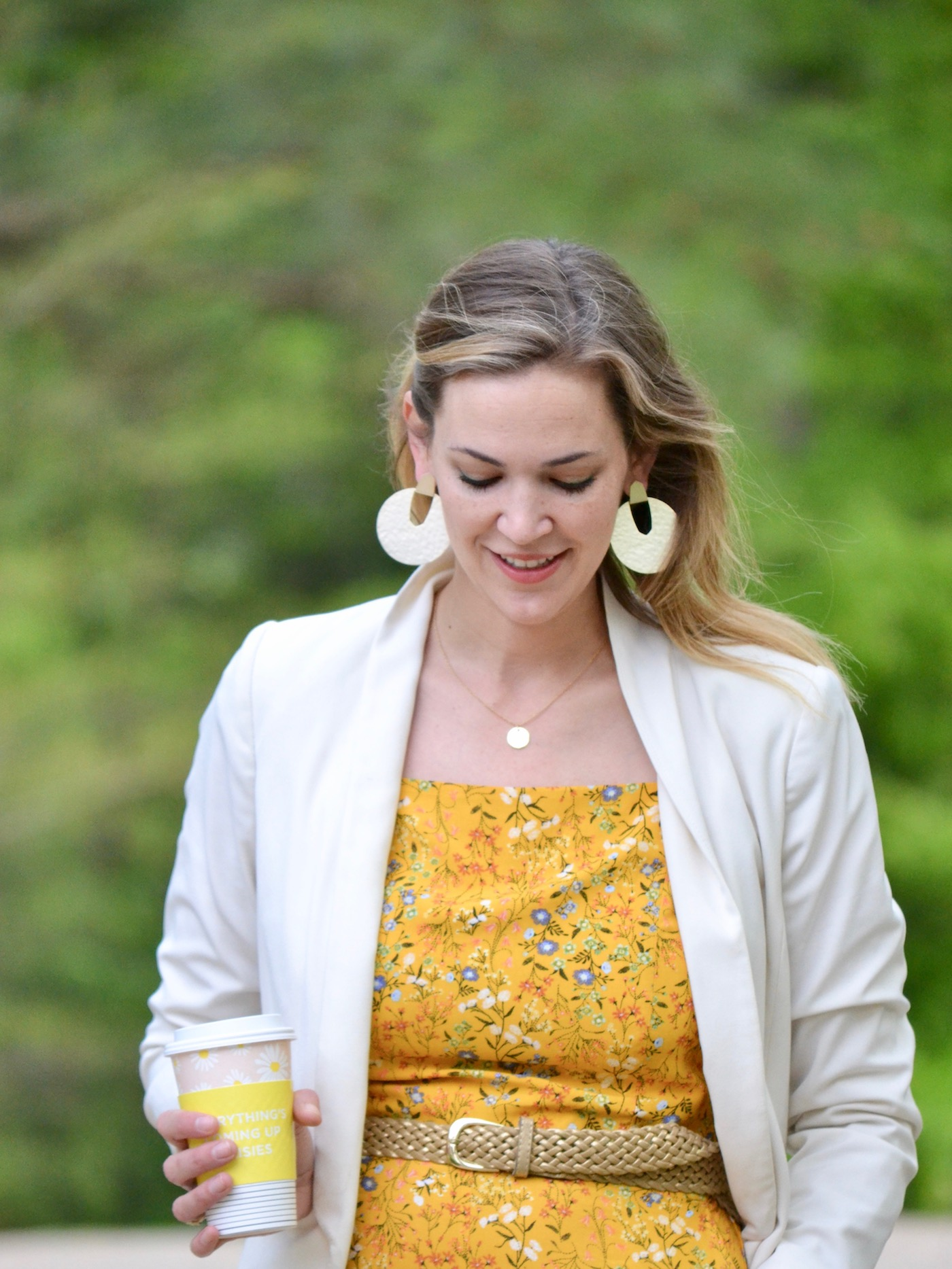 Yellow Old Navy Jumpsuit + White Blazer and Gold Mules