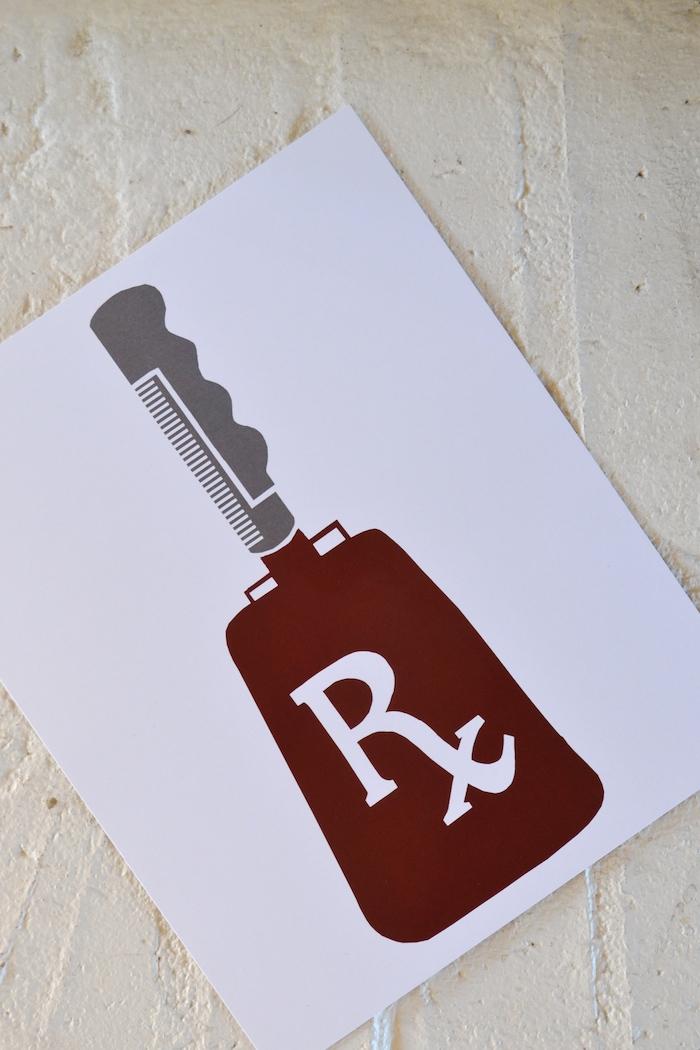 Rx Cowbell 8 x 10 print // $12 // etsy.com/shop/thelovelybeebylaurel