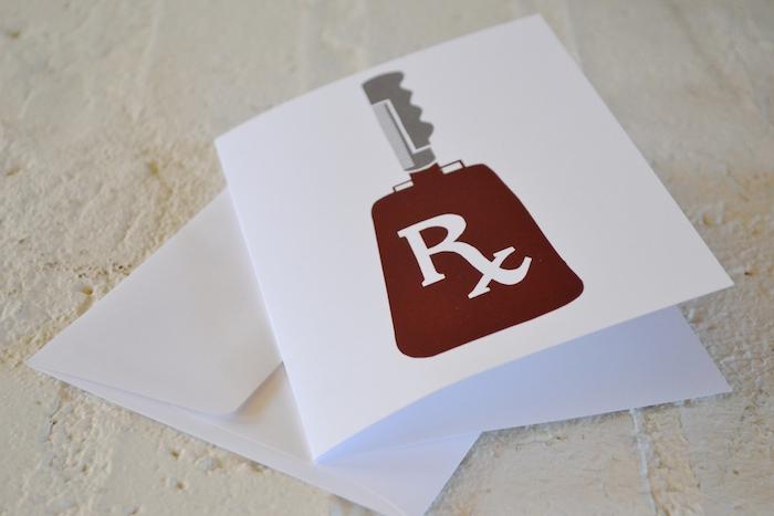 Rx Cowbell Card (blank inside) // $3 // etsy.com/shop/thelovelybeebylaurel
