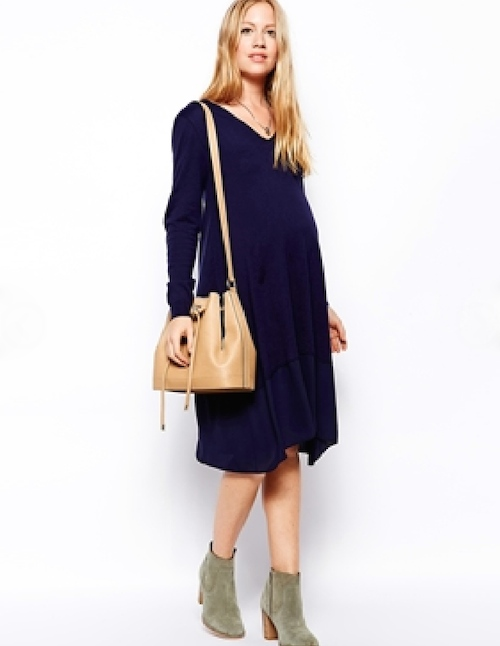 ASOS Maternity Exclusive Sweater Dress With Woven Hem