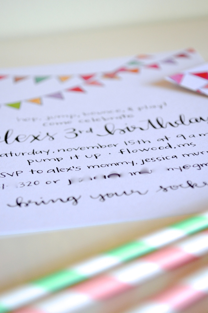 Custom Third Birthday Party Invitation and matching Thank You Cards designed by The Lovely Bee Paper Co.