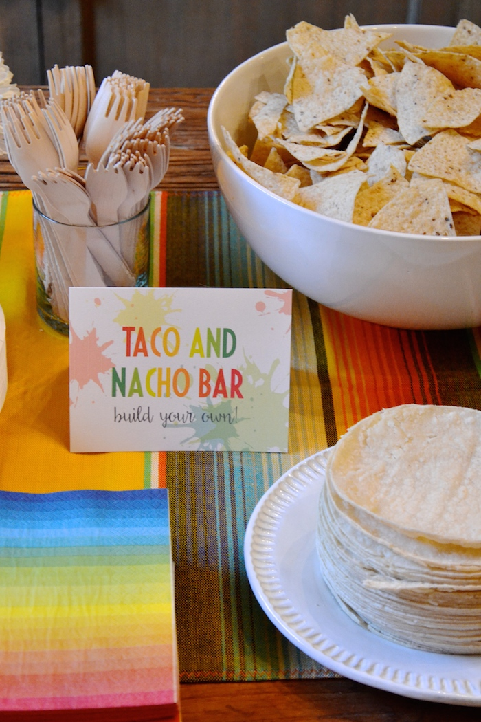 Taco/Nacho bar at Gender Reveal FIESTA! // www.thehiveblog.com