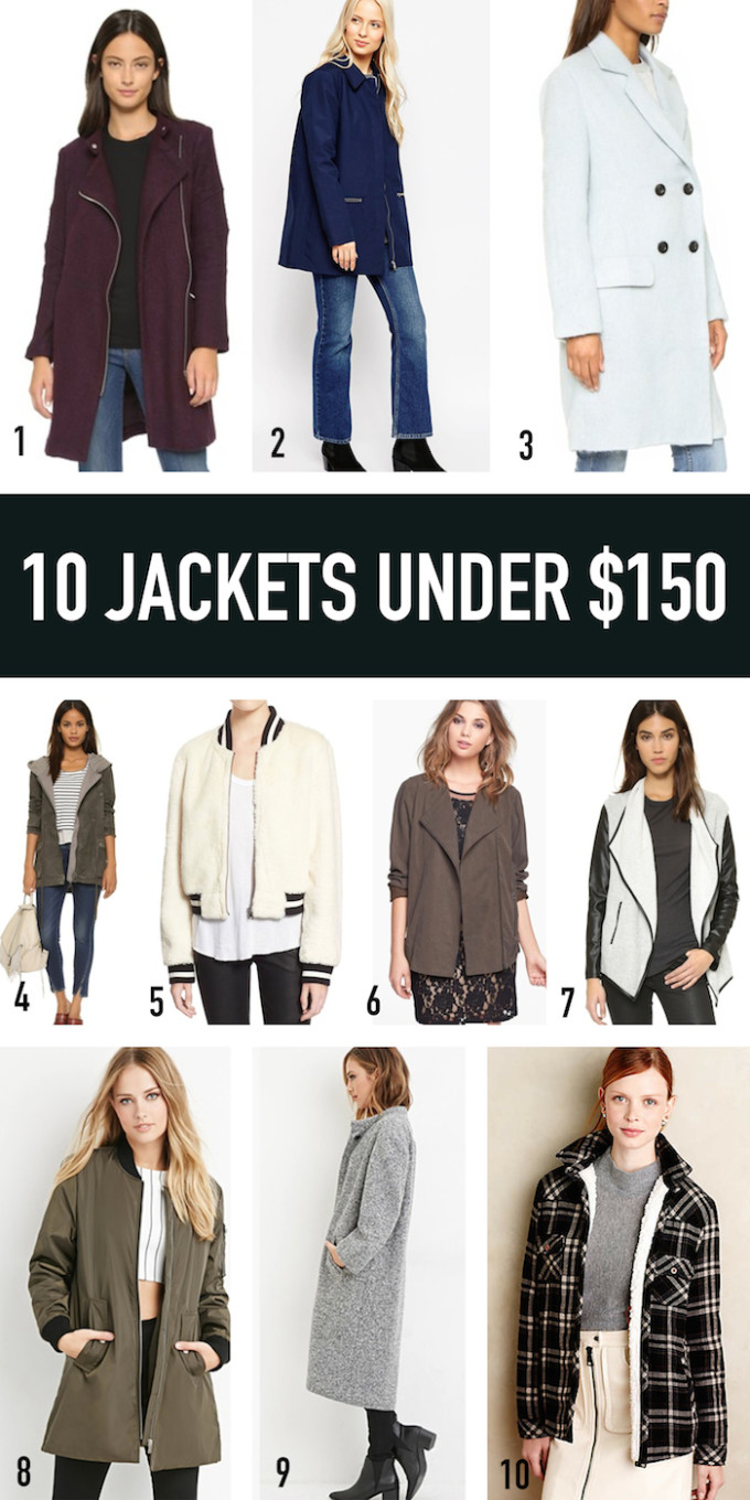 10 JACKETS UNDER $150 // www.thehiveblog.com