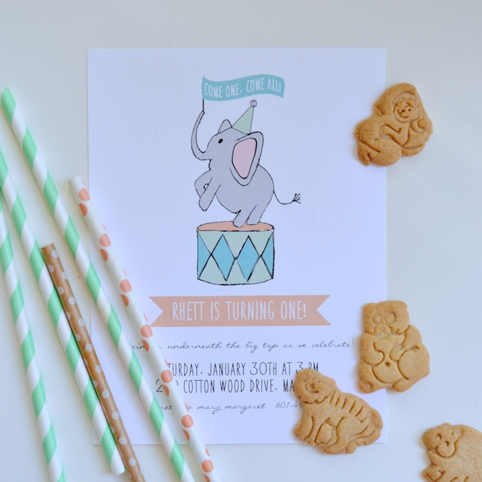 first birthday party invitation by The Lovely Bee Paper Co. // www.thehiveblog.com