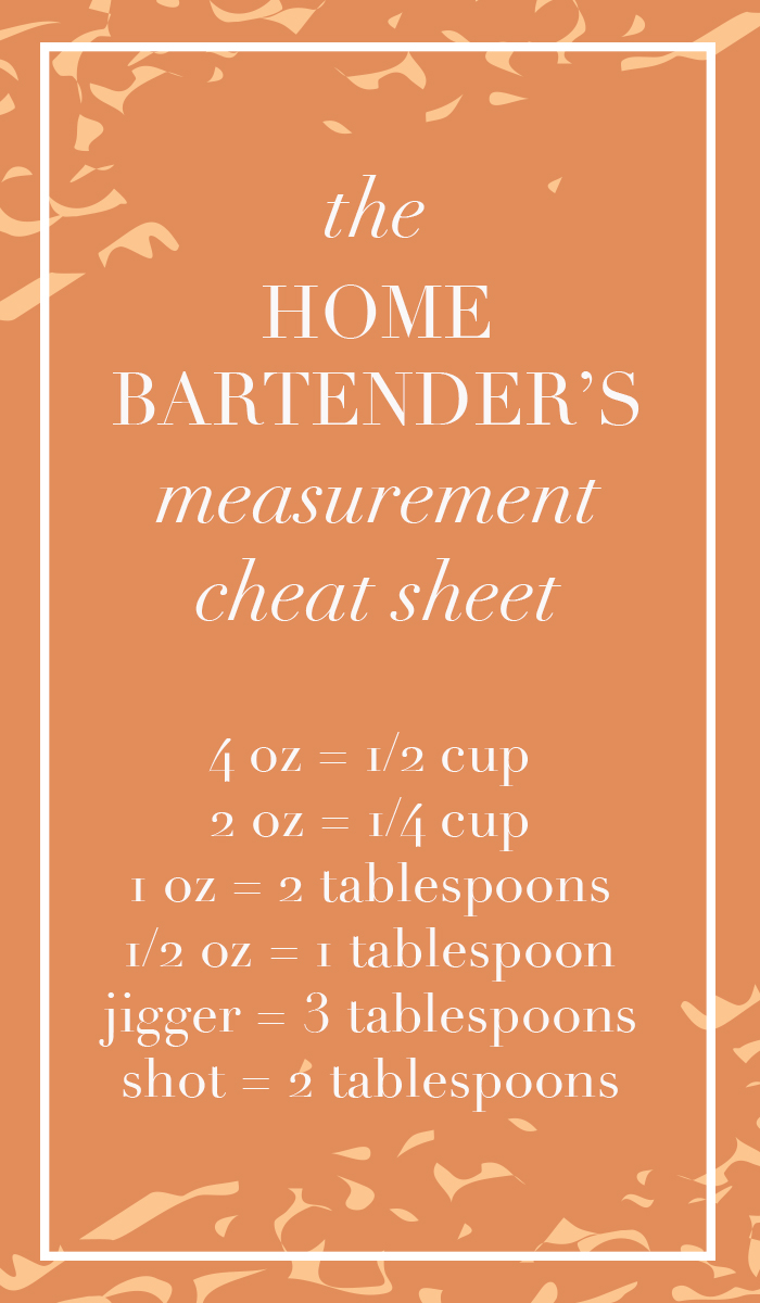 The Home Bartender's Measurement Cheat Sheet! www.thehiveblog.com