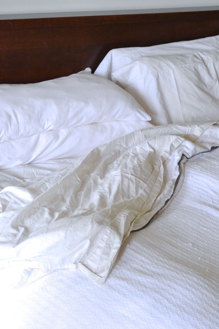 Making all white bedding practical (when you have three dogs and two kids)