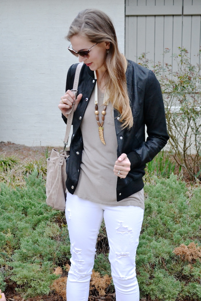 Black Bomber + White Distressed Skinnies