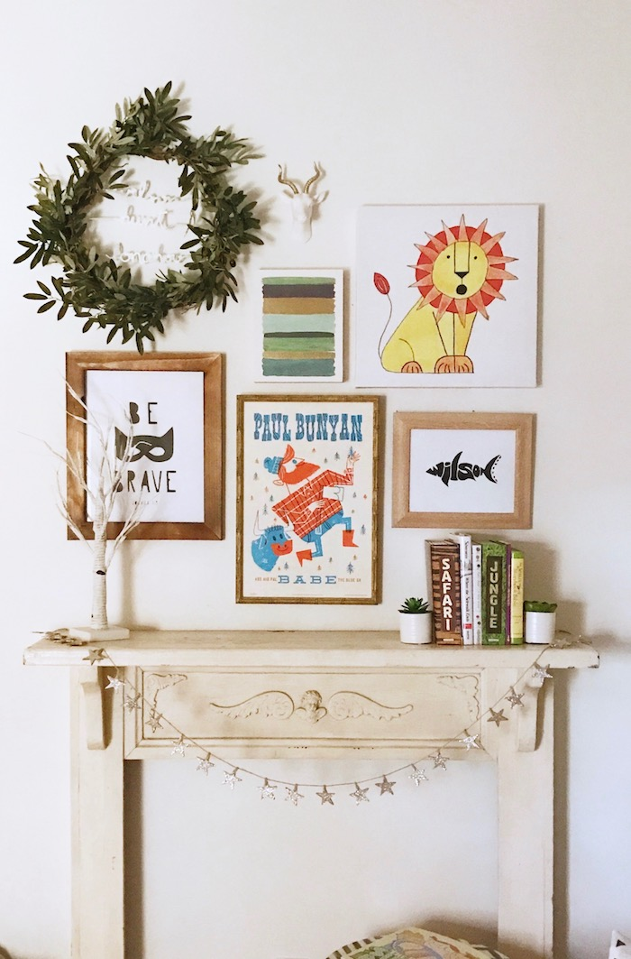 Gallery wall in little boy's room via thehiveblog.com