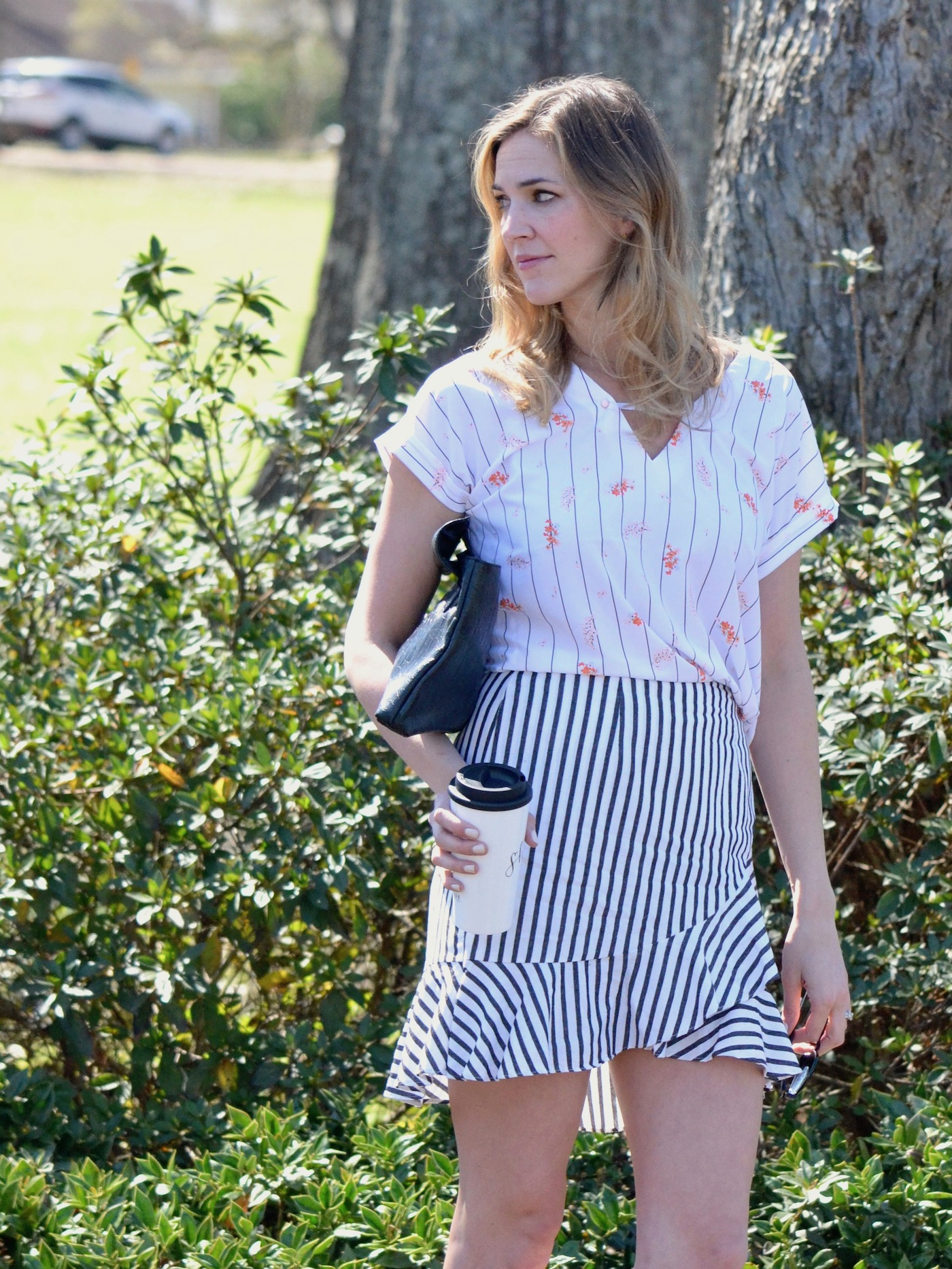 A New Day at Target // Striped Ruffle Skirt and Striped Floral Top // www.thehiveblog.com