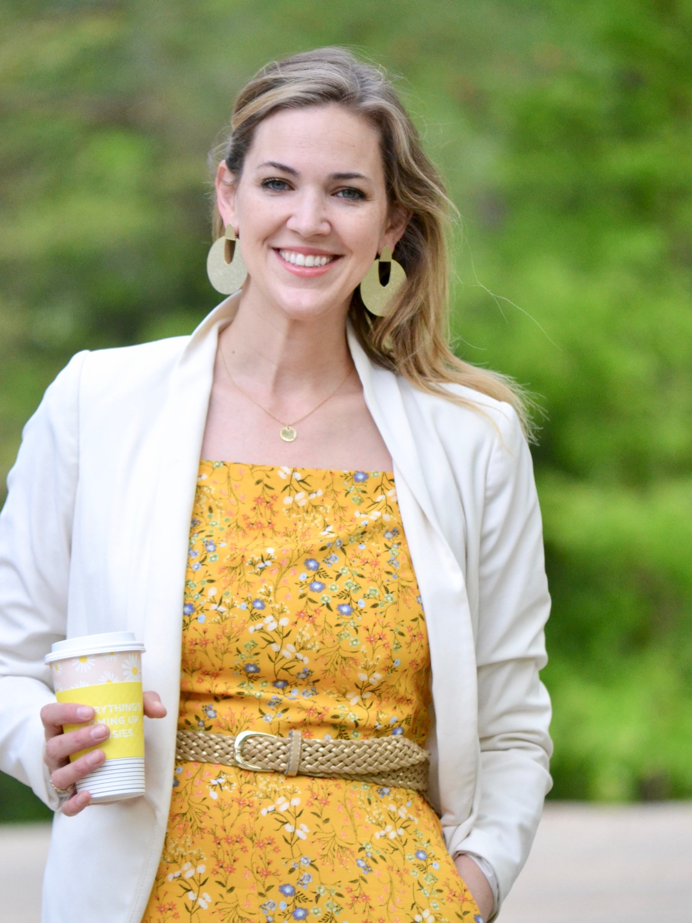 9133c06e06b6 Yellow Old Navy Jumpsuit + White Blazer and Gold Mules - THE HIVE