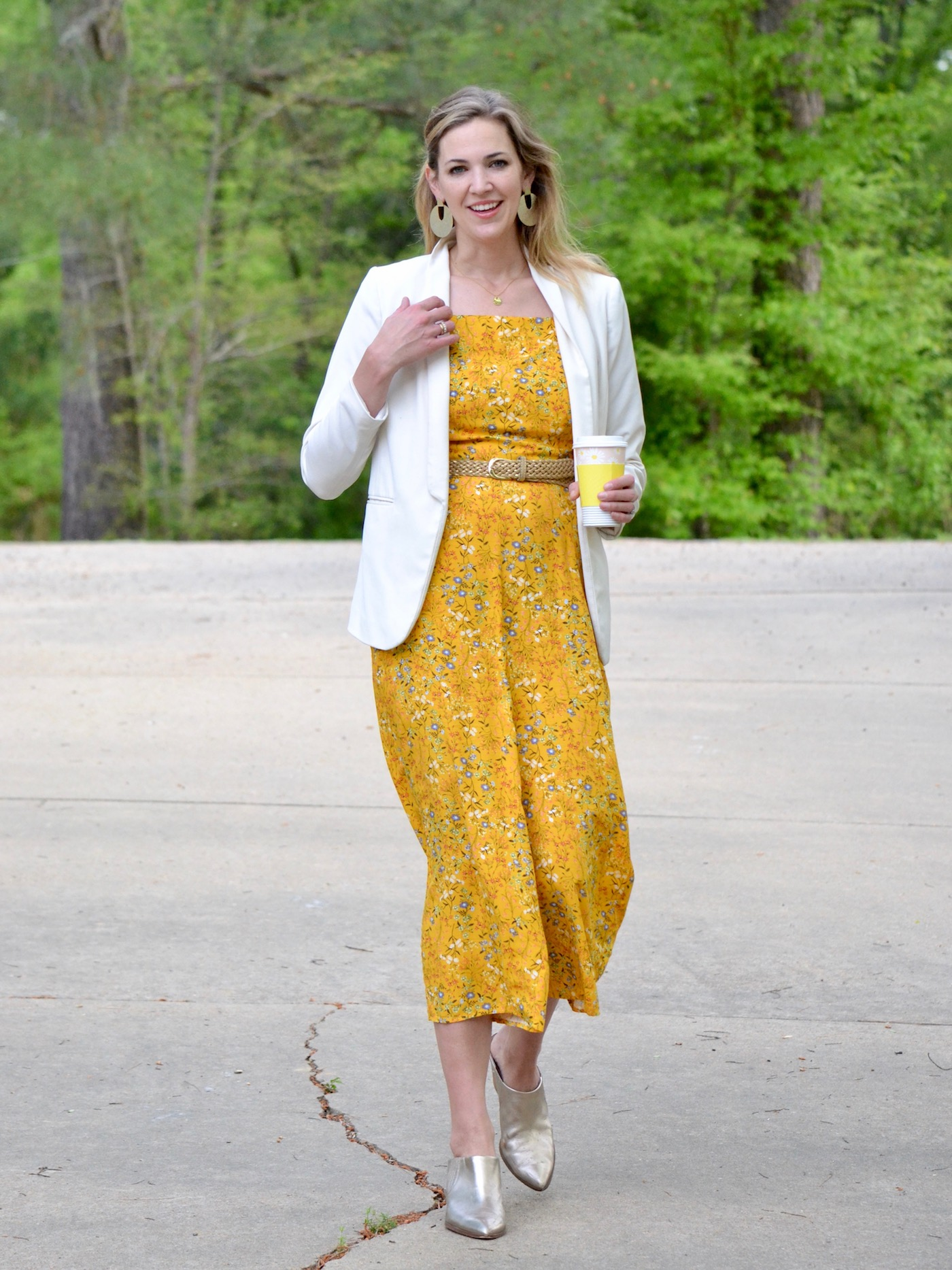 357f147f4d8b Yellow Old Navy Jumpsuit + White Blazer and Gold Mules