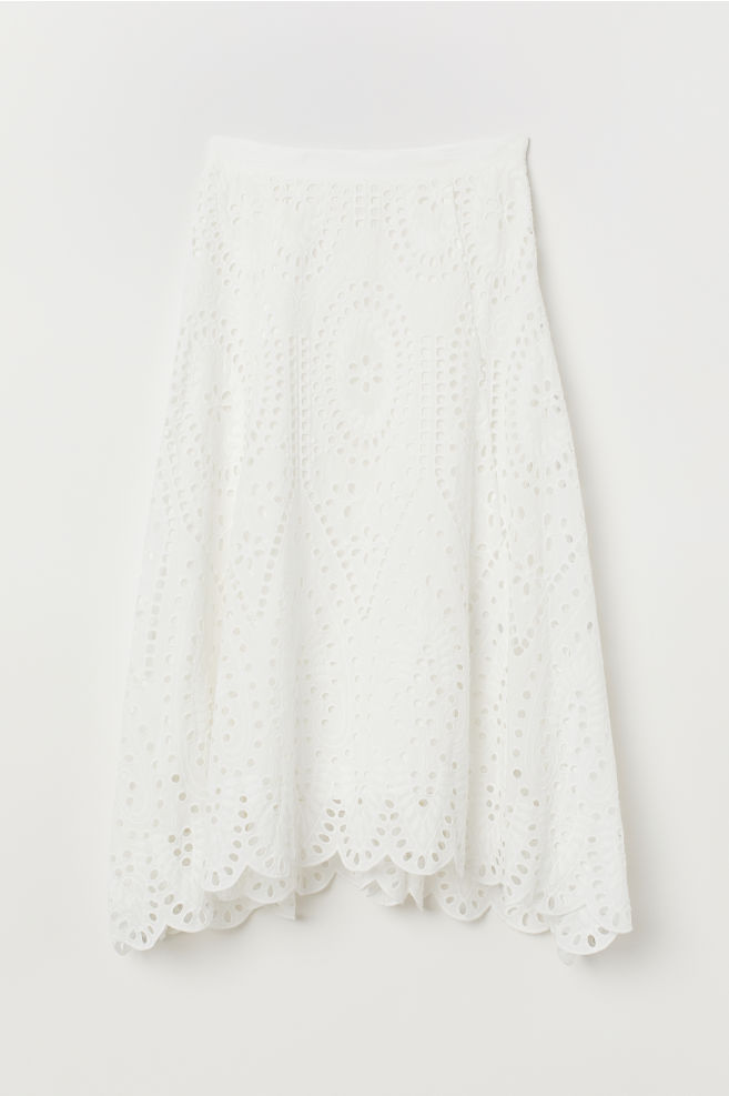 white eyelet lace midi calf length skirt h&m