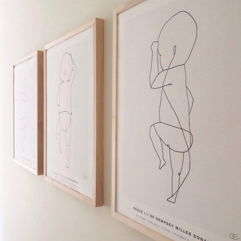 To scale line drawing posters of your babies using their actual birth measurements. SO fun!