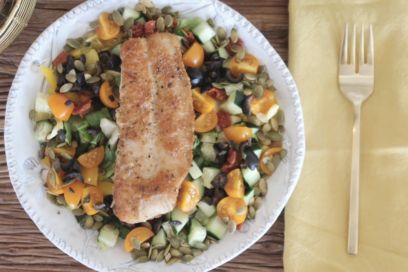 Tuscan Chopped Salad with Pan-Roasted Catfish