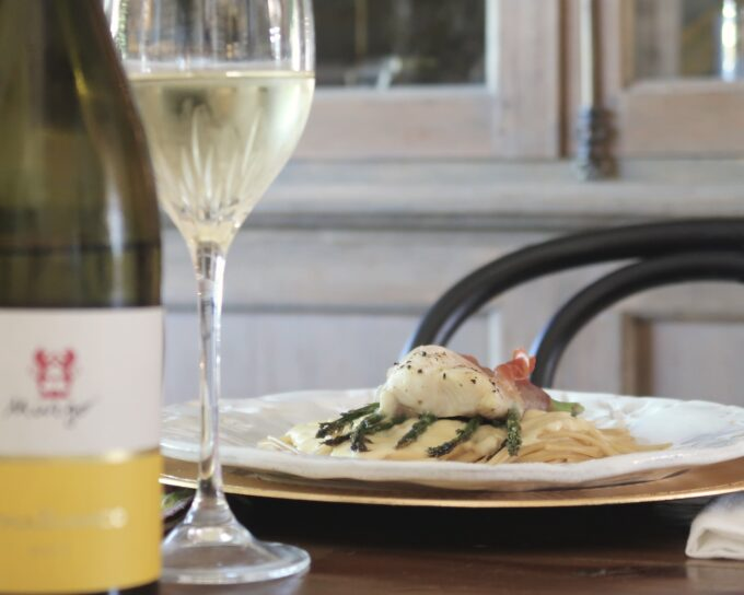 Prosciutto-Wrapped U.S. Catfish with asparagus and Alfredo pasta. So good!